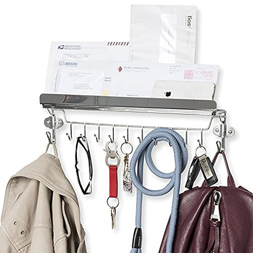 Wallniture Entryway Organizer - Wall Mount Coat and Key Holder - 18 inch Rack with 12 Hooks Chrome Finish ()