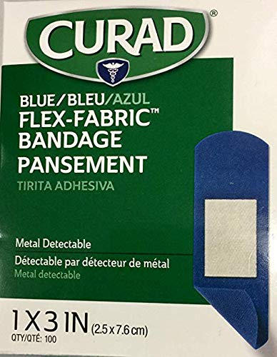 Curad Woven Blue Detectable Bandage, 100-Count (Pack of 2) -