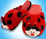 Pillow Pets Ladybug Slippers - Kids Soft Chenille Plush Animal Slippers - Small