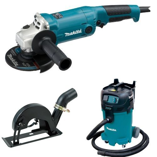Makita GA5020 5-Inch Angle Grinder with Super Joint System  with Makita Makita 193794-5 Dust Extracting 4-1/2 inch - 5 inch Grinder Cutting Guard - with shoe with Makita VC4710 12-Gallon Wet/Dry Vacuum