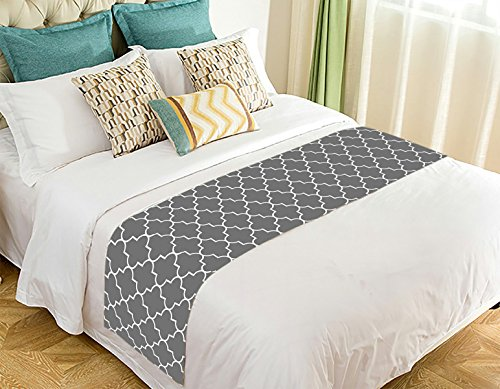 NNBZ Custom Classic Grey and White Quatrefoil Bed Runner Cotton Bedding Scarf Bedding Decor 20x95 inches