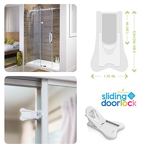 Sliding Door Lock for Child Safety - Baby Proof Doors & Closets. Childproof your Home with No Screws or Drills by Ashtonbee (Set of 2, White) by Ashtonbee (Image #5)