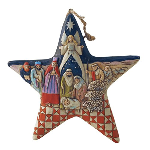 (Jim Shore Heartwood Creek Nativity Star Stone Resin Hanging Ornament, 5