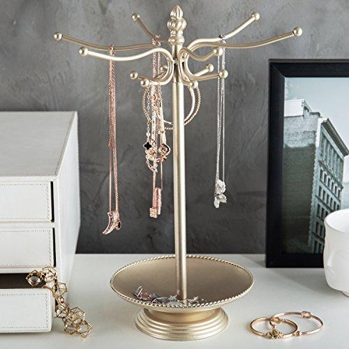 MyGift Brass-Tone Metal 12-Hook Jewelry Organizer Tree Rack w/Ring Dish Tray by MyGift (Image #1)