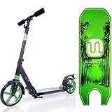 MIAWHEELS Black/Green Adjustable & Foldable + Suspension+ Strap+Reflective+ Long Rear Brake, Aluminium Kick Scooter