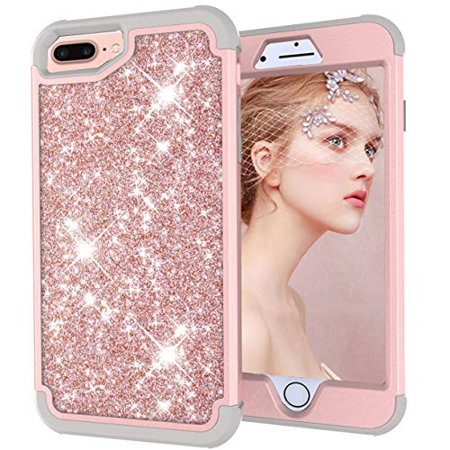 Dual Layer Shockproof Hard PC Case for iPhone 6 Plus,Hybrid Armor Sparkle Glitter Back Cover,MOIKY iPhone 7 Plus/8 Plus Rugged Drop Resistant Dust Proof Shell Impact Protection - Gray+Rose Gold ()