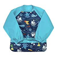 green sprouts Easy-wear Long Sleeve Bib   Waterproof protection from mealtime to playtime   Flipped pocket, soft material, elasticized sleeves, easy clean, Aqua Pirates, 12-24 Months