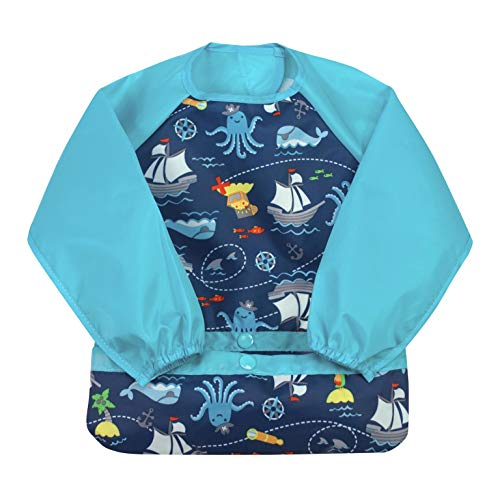 green sprouts Easy-wear Long Sleeve Bib | Waterproof protection from mealtime to playtime | Flipped pocket, soft material, elasticized sleeves, easy clean, Aqua Pirates, 2T - 4T