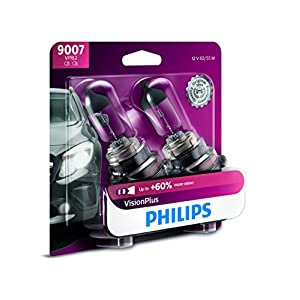 Philips 9007 VisionPlus Upgrade Headlight Bulb with up to 60% More Vision, 2 Pack