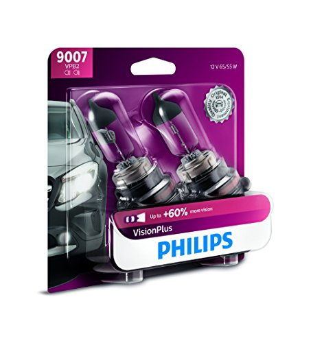 (Philips 9007 VisionPlus Upgrade Headlight Bulb with up to 60% More Vision, 2 Pack - 9007VPB2)