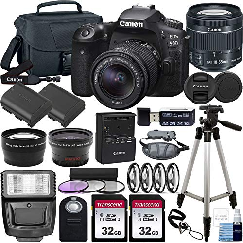 Canon EOS 90D DSLR Camera and Canon EF-S 18-55mm f/3.5-5.6 is STM Lens & Deluxe Accessory Bundle – Includes: 2X 32GB…