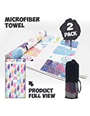 ROCONTRIP Microfibre Beach Towel Adults, Travel Sport Swimming Quick Dry Towel Sand Proof,Lightweight Antibacterial Camping Towel Printed 2 Packs with Carry Bag for Sports,Bay,Hiking,Gym,Yoga,Fitness