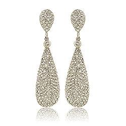 Women's Champagne Diamond Golden Dangle Drop Earrings