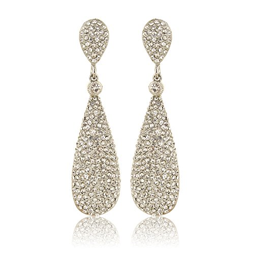 Moonstruck Costume Jewelry Chandelier Diamond Studded Metal Drop and Dangle Earrings for Women -