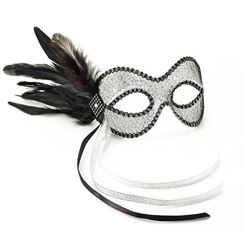 Forum Novelties Women's Lace Feather Venetian Eye Mask, Black/Silver, One Size (Venetian Eye Mask)
