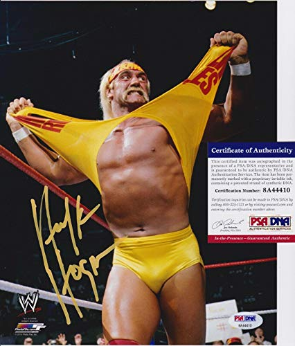 HULK HOGAN Signed WWE WRESTLING 8x10 photo + COA 8A44410 - Yellow Paint Auto - PSA/DNA Certified - Autographed Wrestling Photos