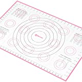 "Pastry Mat X-Large 26"" x 17"" Pink with Measurements and Conversion Charts, Professional Size, Non-Stick Non-Slip, Extra-Large Silicone Fondant Mat for Rolling Dough"