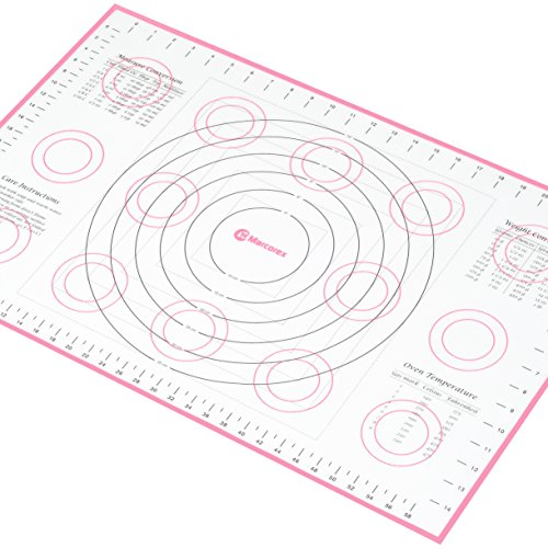Fondant Mat - Extra-Large Silicone Pastry Mat with Measurements and Conversion Charts, Non-Stick Non-Slip, Fondant Mat for Rolling Dough (X-Large (26