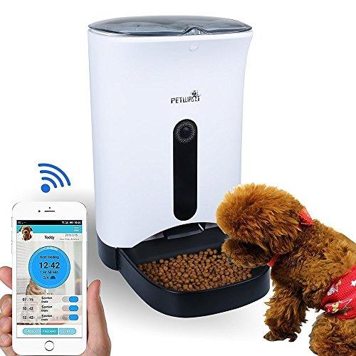 Wopet 4,3L Automatisierte Futterspender Futterautomat mit Kamera für Katzen und Hunde,kontrollieren durch APP von Iphone, Andriod Handy