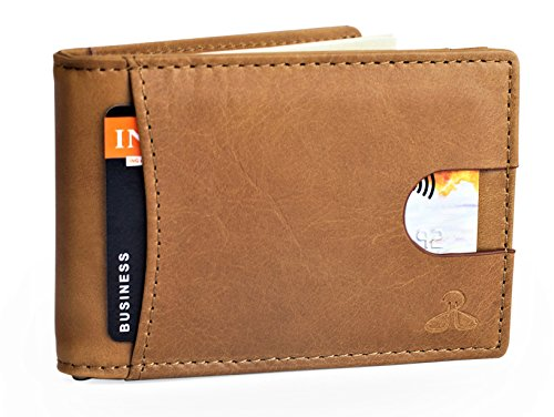RFID Leather Wallets for Men - Bifold Slim Mens Wallet money clip card holder, Tan Brown ()