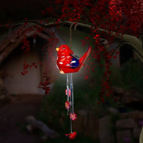 Sitting Bird (Sitting Bird Wind Chime - Solar LED, Porcelain & Steel - Red.)