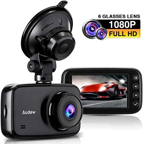 Audew Car Dash Cam, 3.7 LCD HD 1080P Car Dashboard Camera, Wide Angle Car Recorder with G-Sensor, WDR, Loop Recording, Night Vision