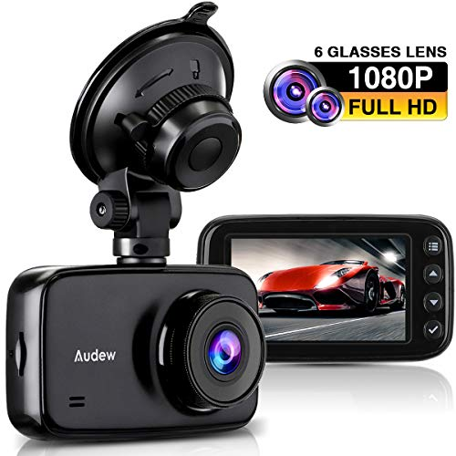 Audew Car Dash Cam, 3.7'' LCD HD 1080P Car Dashboard Camera, Wide Angle Car Recorder with G-Sensor, WDR, Loop Recording, Night Vision