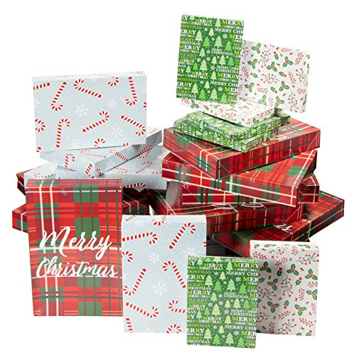Christmas Gift Box - 48-Pack Gift Wrapping Paper Boxes, Christmas Boxes for Gifts with Lids for Holiday Presents, 3 Sizes, 4 Assorted Festive -