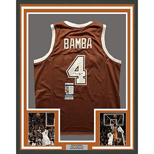 (Framed Autographed/Signed Mohamed Mo Bamba 33x42 Texas Longhorns Orange College Basketball Jersey JSA COA)