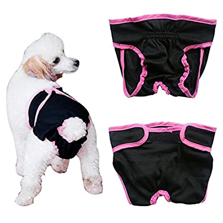 Septven Female Pet Dog Hygienic Sanitary Pants Washable Dry Diaper Nappy Pants Incontinence Protective Brief Underwear Hygiene Pant (L, Black)