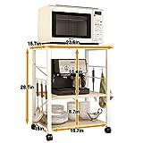 soges 3-Tier Kitchen Baker's Rack Utility Microwave Oven Stand Storage Cart Workstation Shelf, White Oak W4-F