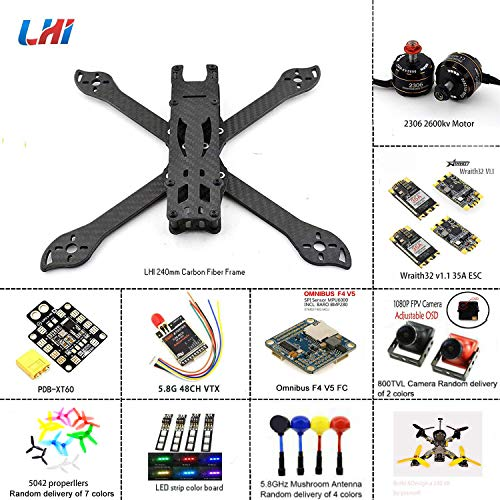 LHI 240mm FPV Quadcopter Frame Kit ARF 2306 2600KV Motor Blheli_s 35A 32bit ESC F3 Omnibus Flight Controller ARF Kit with Camera