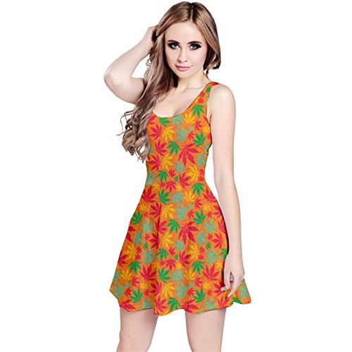 Jogja Womens Cannabis Leafs Seamless Pattern Sleeveless Dress