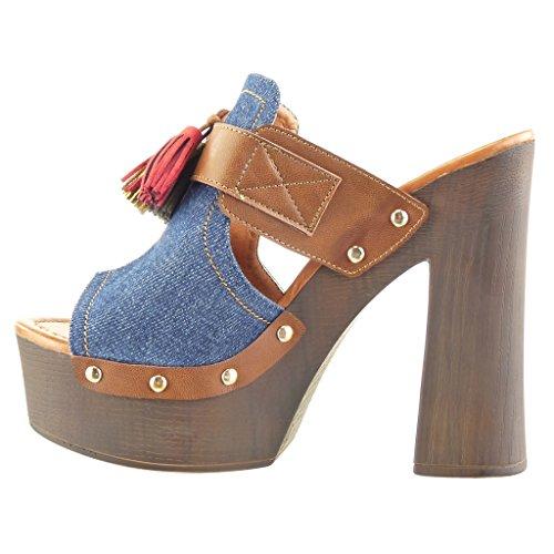 Angkorly - damen Schuhe Sabot Sandalen - Plateauschuhe - Nieten - besetzt - Franse - Bommel Blockabsatz high heel 13.5 CM - Blau