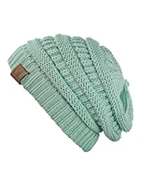 Trendy Warm Chunky Soft Stretch Cable Knit Beanie Skully, Mint