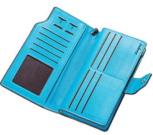 Blue Handbag Clutch Wallet Purse Credit Wallets Organizer Winsterch E Leather Women Blue Card PCqw1wF