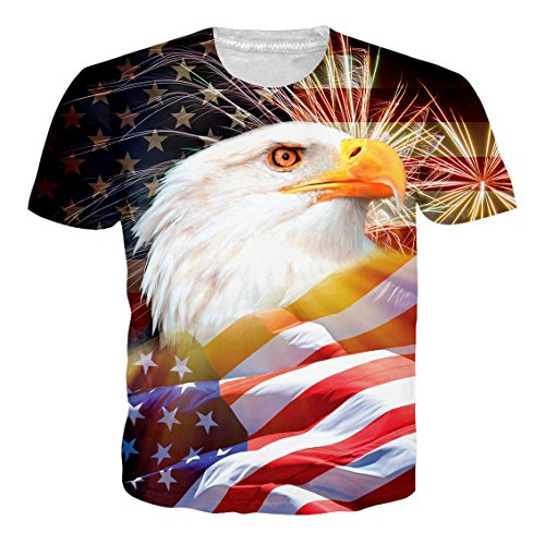 Feather T-shirt Tee Shirts - RAISEVERN Men's Short Sleeve T-Shirts American Flag Feather Print Casual Graphic Tees