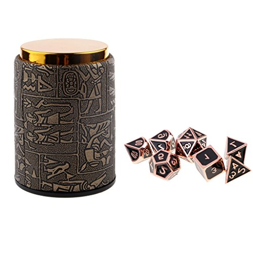 Homyl 7PCS Metal Polyhedral Dice D4-D20 for Dungeons and Dragons Board Game Accessories &Dice Cup #2 by Homyl