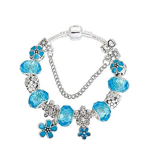 Shisky Fashion Alloy Jewelry Blue Crystal Plane Wave drip Oil Flower Pendant Beaded Bracelet -
