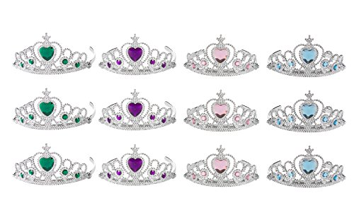 Princess Tiara - 12-Pack Rhinestone Crown Headpieces, Dress Up Set for Little Girls, Kids Play Jewelry, Costume Accessories, 4 Colors