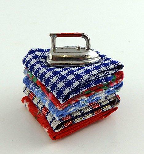 Melody Jane Dolls Houses House Miniature Kitchen Laundry Accessory Pile Folded Ironing Iron