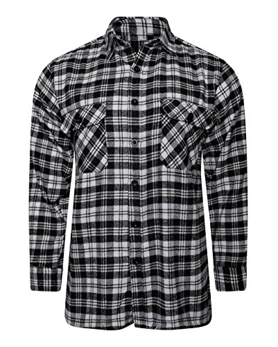 MA ONLINE Boys Check Flannel Brushed Cotton Long Sleeve T Shirt Mens Lumberjack Work Top Black/White Large - Mens Brushed Check Shirt