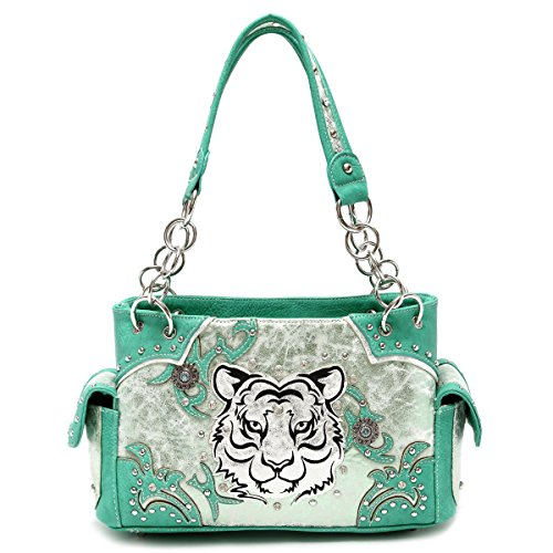 (Cowgirl Trendy White Tiger Face Synthetic Leather Purse w. Conceal Carry Pocket, Unreserved Green)