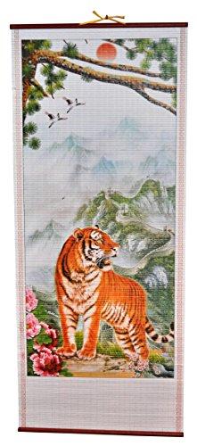 Rattan Wall Scroll - Tiger In The Mountains (Rattan Cane Manau)