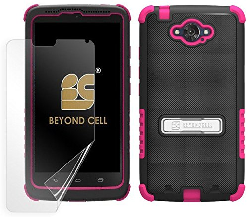 Beyond Cell Case for Motorola Droid Turbo XT1254 - Non-Retail Packaging - Black PC with Hot Pink Silicone