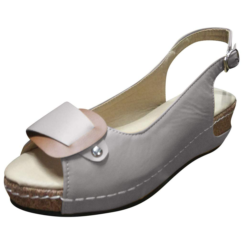 Women Wedges Sandals Pumps Peep Toe Ankle Buckle Slingback Rome Sandals Summer Casual Comfy Dress Sandal Shoes (Gray, US:7.5=Foot Length:25cm/9.8'')