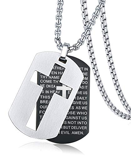 Thunaraz Stainless Steel Dog Tags Cross Necklaces Lord's Prayer Jewelry Pendant Necklace Men Bible Verse Black -