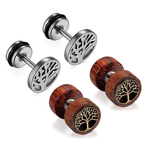 Cupimatch Womens Mens Earrings, 2 Pairs Stainless Steel Wood Tree Hoop Earrings Studs Set