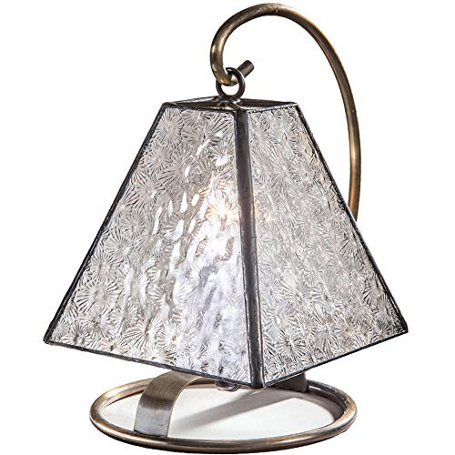J Devlin Lam 693 Small Tiffany Stained Glass Lamp Clear Textured Glass Vintage Night Light Accent Lighting Memory Lamp