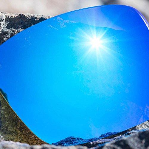 Verres de rechange pour Maui Jim Hookipa — Plusieurs options Bleu Glacier MirrorShield® - Non-Polarisés